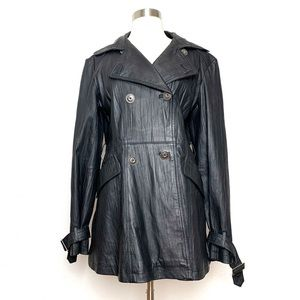Vintage Black Leather Coat Jacket M